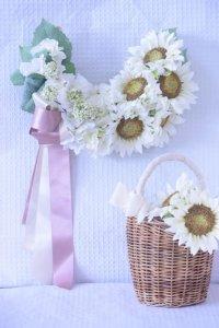 white Sun Flower Wreath