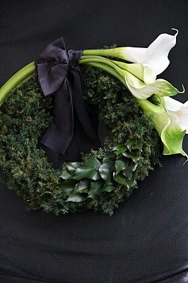 calla wreath preserved artificial flower birth of green