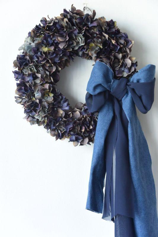 画像1: Denim Ribbon Wreath