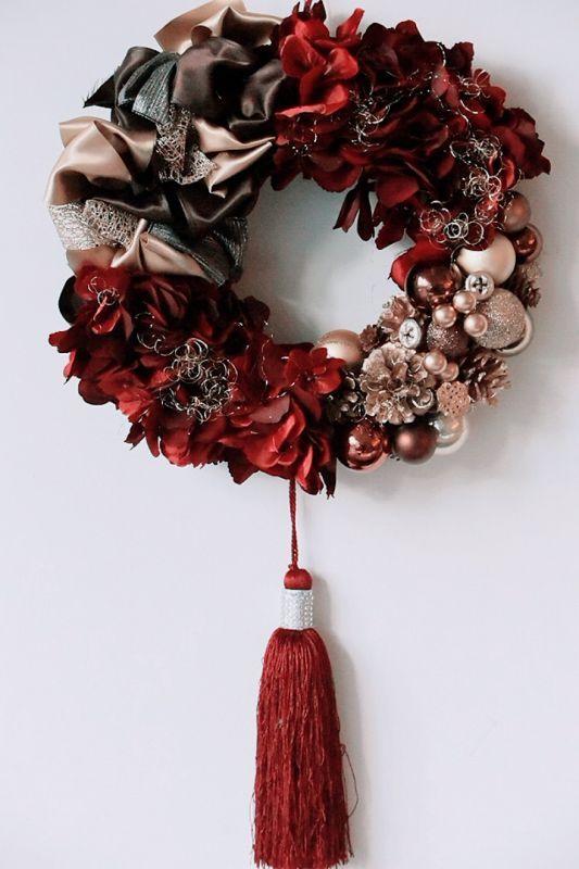 画像1: Bordeaux Tassel Wreath